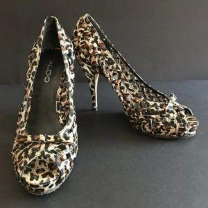 Aldo Leopard Print Stiletto Open Toe Size 6